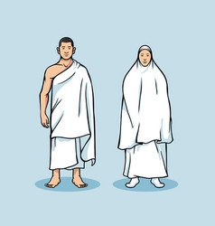 Standing couple figure hajj pilgrimage vector