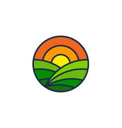 Sunset farm logo icon design vector