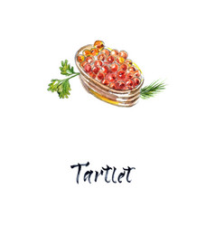 tartlet with red caviar watercolor vector image