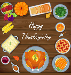 thanksgiving greeting card with menu foods wood ba vector image