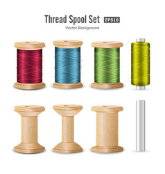 thread spool set bright plastic and wooden bobbin vector image