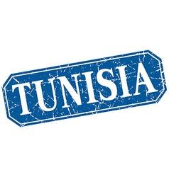 Tunisia blue square grunge retro style sign vector