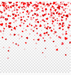 valentines day background with falling red hearts vector image