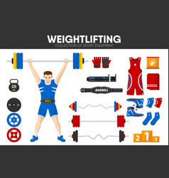 Weightlifting sport gym equipment weightlifter man vector