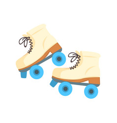 white roller blades with blue wheels cartoon vector image