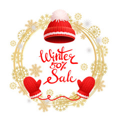 Winter 50 percent sale poster warm red hat gloves vector