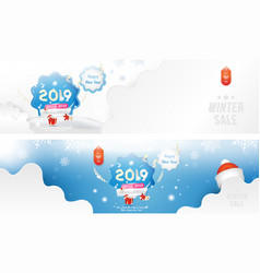 winter sale 25 happy new year 2019 long greeting vector image