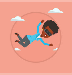 woman in vr headset flying in the sky vector image