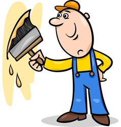Worker with brush cartoon vector
