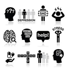 Depression stress icons set - mental health vector image vector image