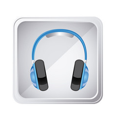 emblem headphone service icon vector image