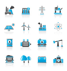 energy produsing industry and resources icons vector image vector image