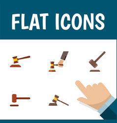 Flat icon lawyer set of crime court tribunal and vector