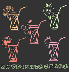 glass of juice icon set vector image