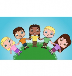 kids holding hands on hill vector image