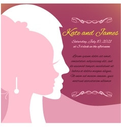 Wedding invitation card with silhouettes of couple vector image vector image