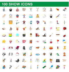 100 show icons set cartoon style vector image