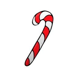 Christmas peppermint candy cane with stripes icon vector image vector image