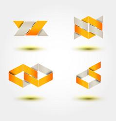 set of minimal geometric multicolor striped vector image vector image