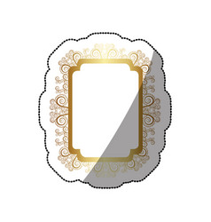 sticker golden curved rectangle vintage baroque vector image