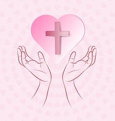True cross in pink heart floating over human hand vector image