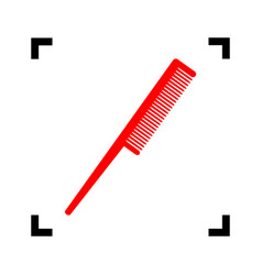 comb sign red icon inside black focus vector image