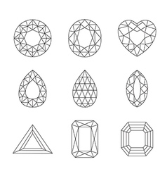 Diamonds and Ruby Line Icons vector image vector image