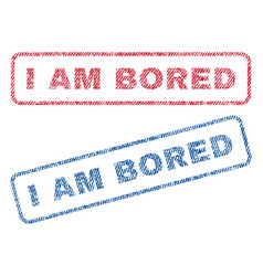 I am bored textile stamps vector