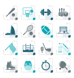 stylized sport objects icons vector image vector image