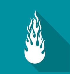 white fire flame flat icon vector image