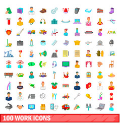 100 work icons set cartoon style vector