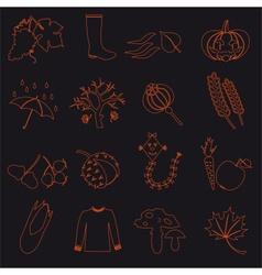 autumn outline icons on black background set eps10 vector image