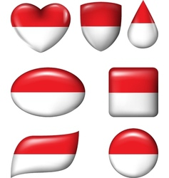 Indonesia and Monaco Flag in various shape glossy vector image vector image