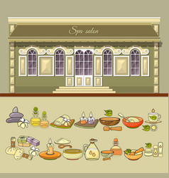 spa salon and set of spa accessory icon vector image