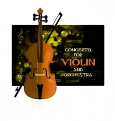 violin with notes and bow vector image vector image