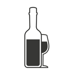 wine bottle drink beverage silhouette icon vector image vector image