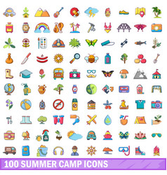 100 summer camp icons set cartoon style vector image