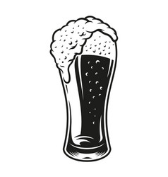 a black and white glass beer vector image