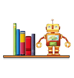 A wooden shelf with a robot and books vector