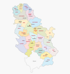 administrative and political map of serbia vector image