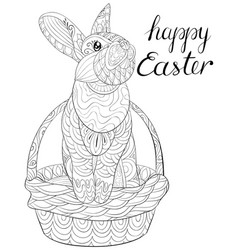 Adult coloring bookpage a cute easter rabbit vector