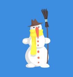 alive classic three snowball snowman in hat and vector image