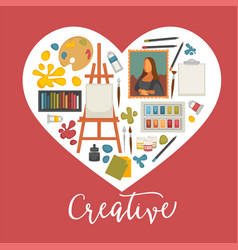 artist painting tools and artistic materials icons vector image