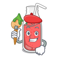 artist strawberry smoothie character cartoon vector image