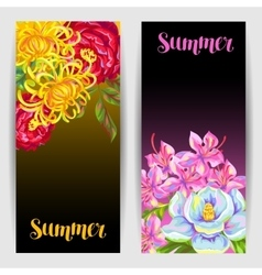 Banners set with China flowers Bright buds of vector image