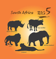 Big five in africa vector