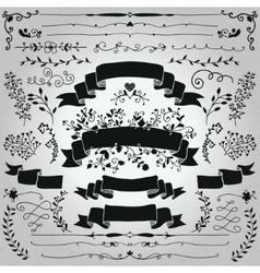 black hand drawn rustic ribbons banners vector image