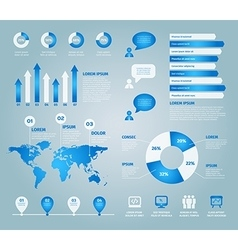 blue set of infographic elements vector image