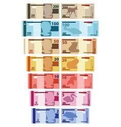 Brazilian main real banknotes colored vector