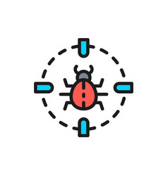 bug in target sight virus flat color line icon vector image